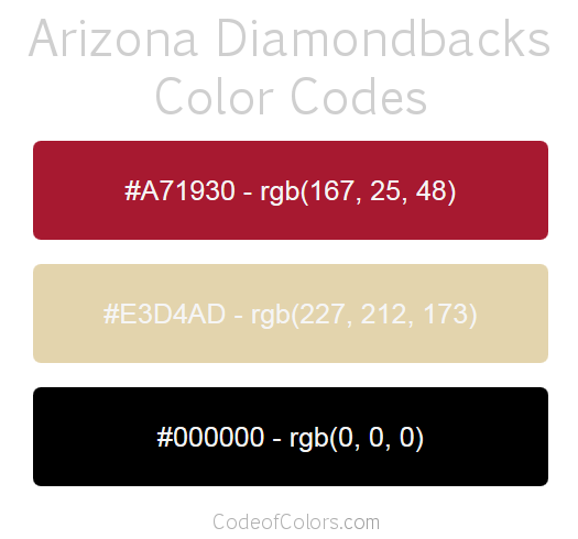 Arizona Diamondbacks Team Color Codes