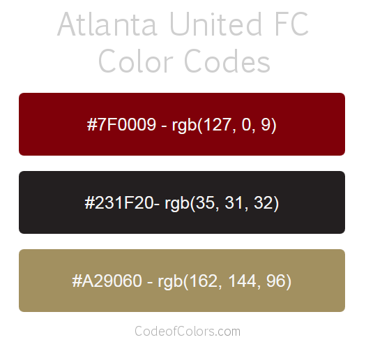 Atlanta United Team Color Codes