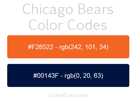 Atlanta Falcons Colors Red >> Chicago Bears Colors - Hex and RGB Color Codes