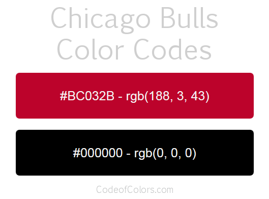 Chicago Bulls Team Color Codes