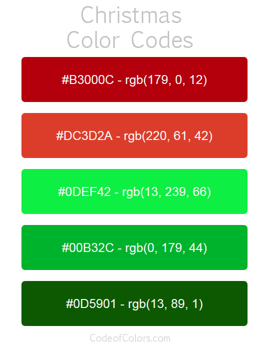 Christmas Colors Palette.Christmas Color Palette Hex And Rgb Color Codes