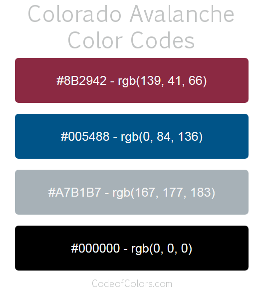 Colorado Avalanche Team Color Codes