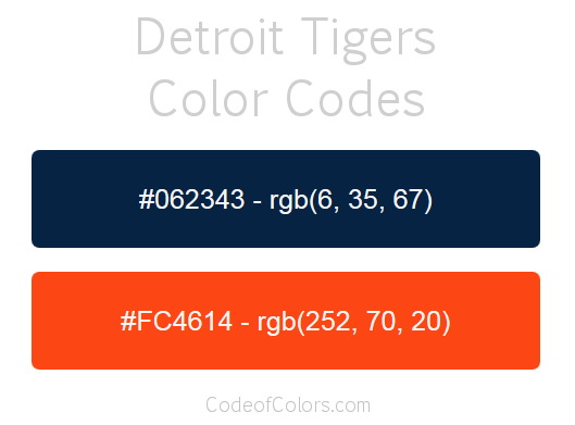Detroit Tigers Colors - Hex and RGB Color Codes