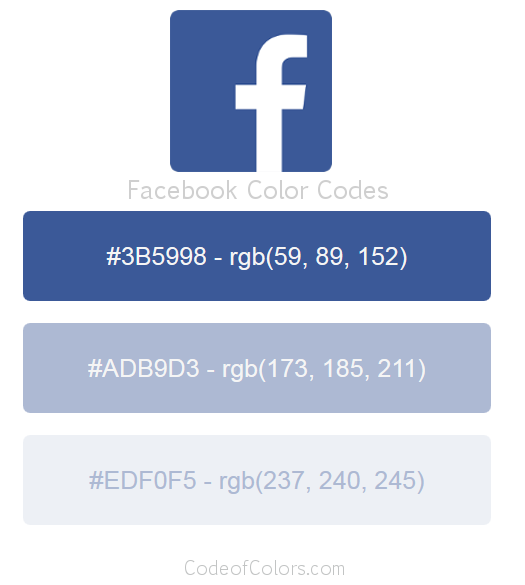 Facebook Logo and Website Color Codes
