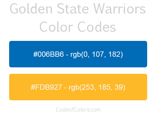 Golden State Warriors Colors Hex And Rgb Color Codes