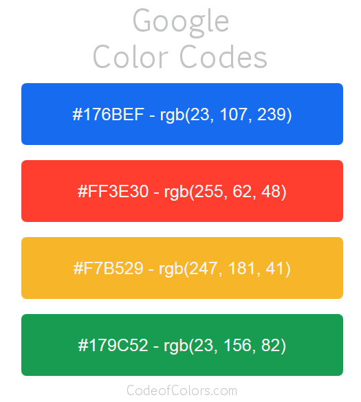 Google Logo and Website Color Codes