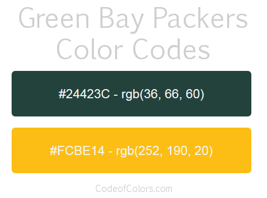 Green Bay Packers Colors - Hex and RGB Color Codes