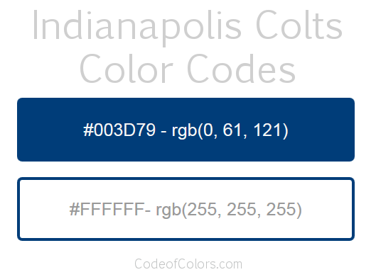 Indianapolis Colts Team Color Codes