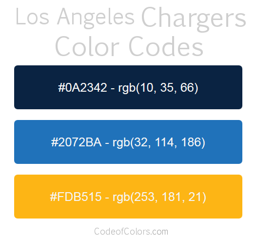 Los Angeles Chargers Colors Hex And Rgb Color Codes