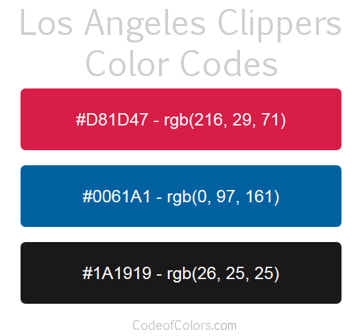 Los Angeles Clippers Team Color Codes