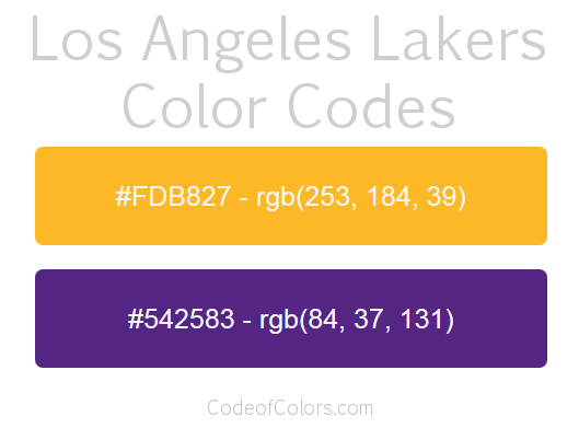 Los Angeles Lakers Team Color Codes