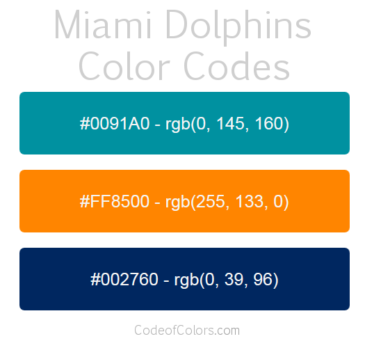 Miami Dolphins Colors Hex And Rgb Color Codes