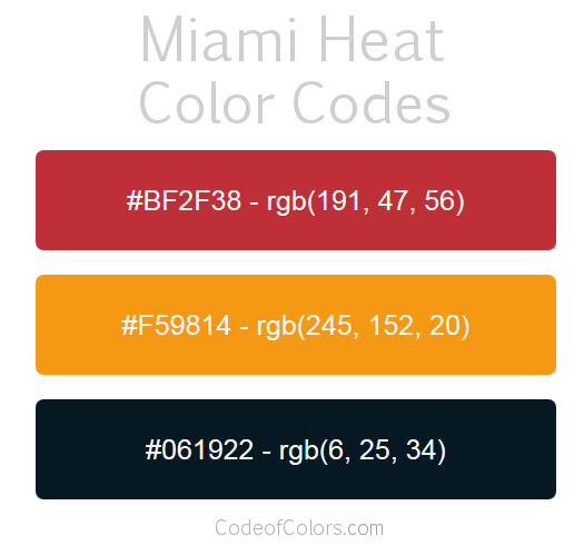 Miami Heat Team Color Codes
