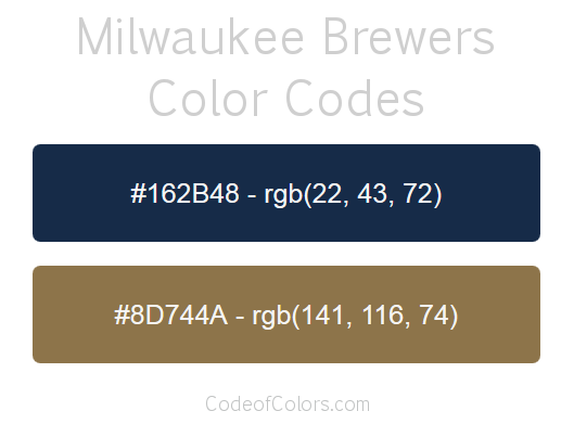 Milwaukee Brewers Team Color Codes