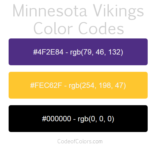 Minnesota Vikings Colors Hex And Rgb Color Codes