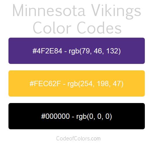 Minnesota Vikings Colors on Pantone Color Scheme
