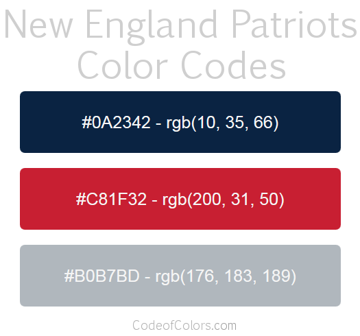 New England Patriots Team Color Codes