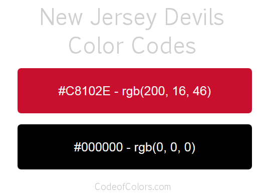 New Jersey Devils Team Color Codes