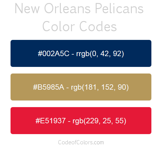 New Orleans Pelicans Team Color Codes