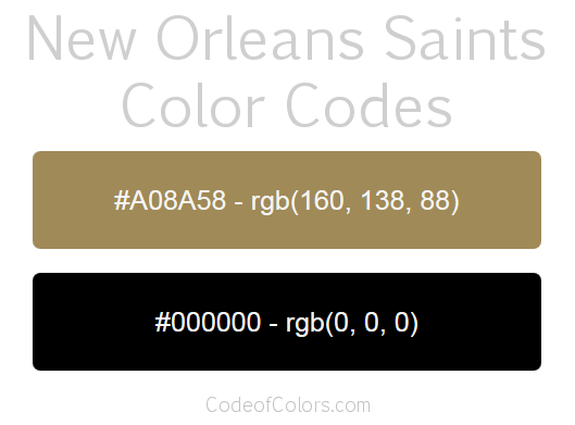 New Orleans Saints Team Color Codes