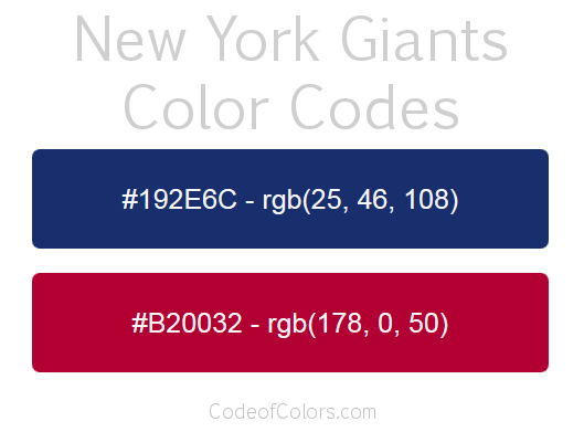 Atlanta Falcons Colors Red >> New York Giants Colors - Hex and RGB Color Codes
