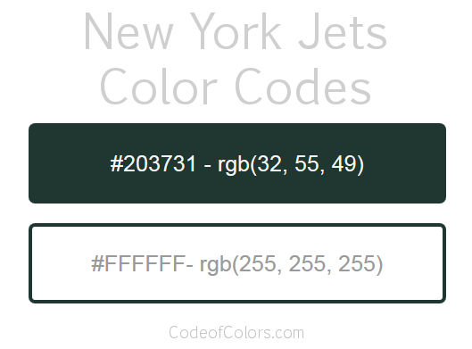 New York Jets Team Color Codes