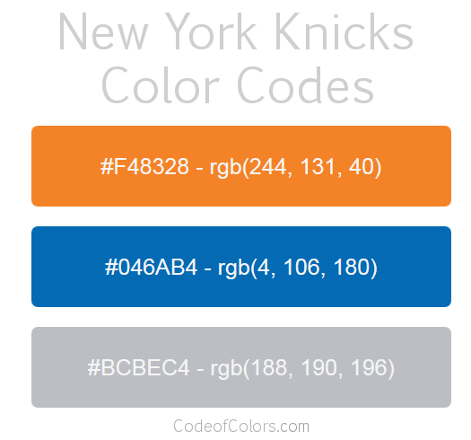New York Knicks Team Color Codes