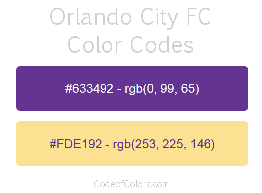Orlando City FC Team Color Codes