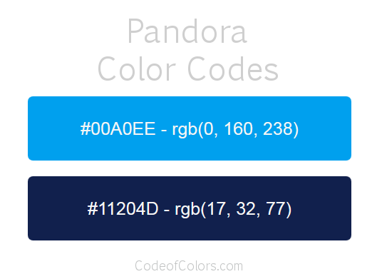 Pandora Logo and Website Color Codes