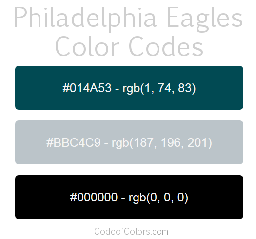 Philadelphia Eagles Team Color Codes