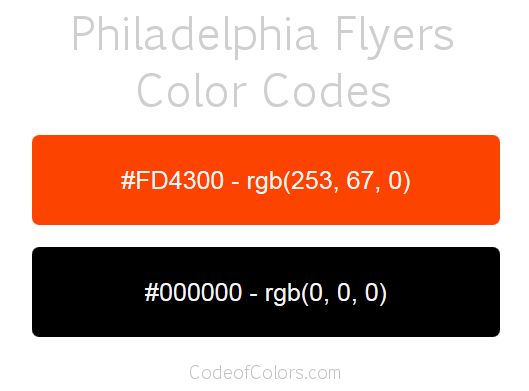 Philadelphia Flyers Team Color Codes