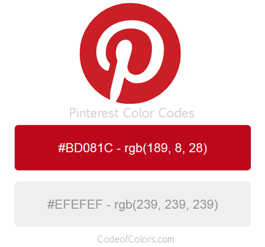 Pinterest Logo and Website Color Codes