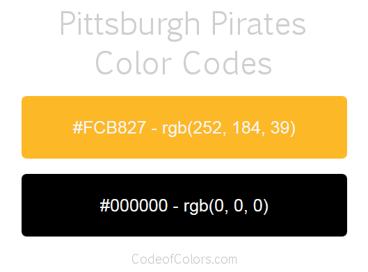 Pittsburgh Pirates Team Color Codes