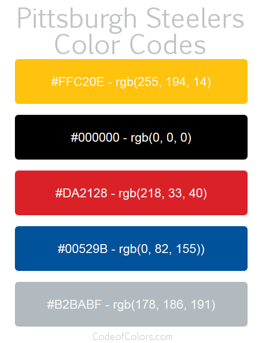 Pittsburgh Steelers Colors Hex And Rgb Color Codes