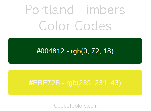 Portland Timbers Team Color Codes