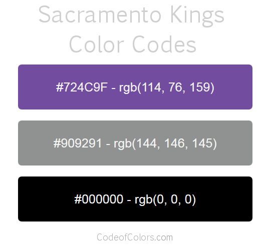 Sacramento Kings Team Color Codes