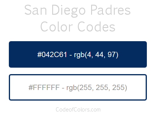 San Diego Padres Team Color Codes