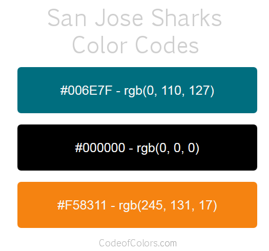 san jose sharks colors hex and rgb color codes