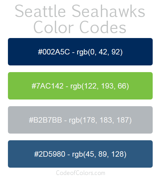 Seattle Seahawks Colors Hex And Rgb Color Codes