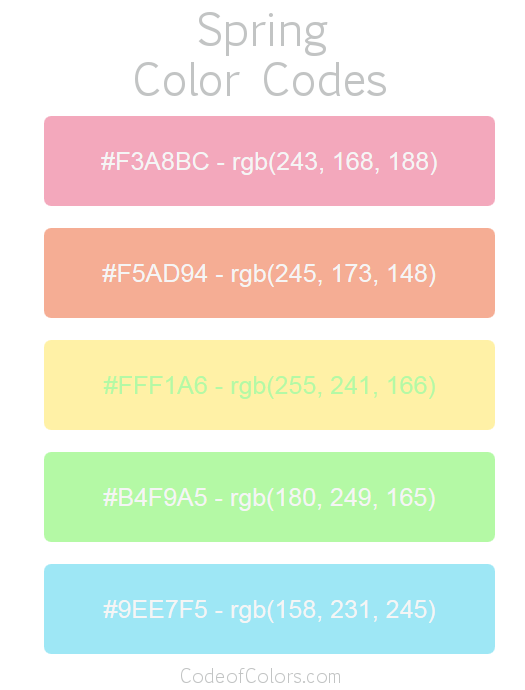 spring color palette hex and rgb color codes