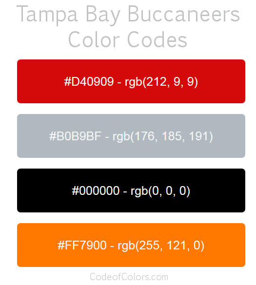 Tampa Bay Buccaneers Colors Hex And Rgb Color Codes