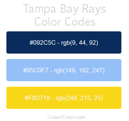 Tampa Bay Rays Team Color Codes
