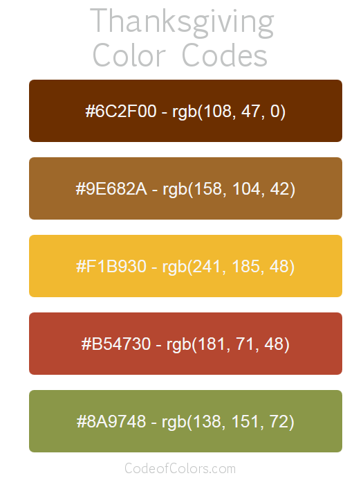 Thanksgiving Color Palette and Scheme