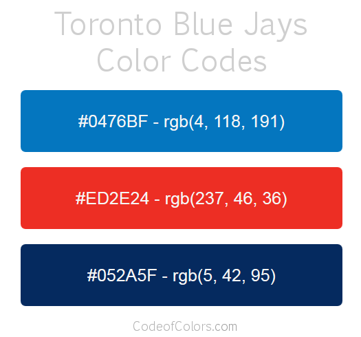 Toronto Blue Jays Team Color Codes