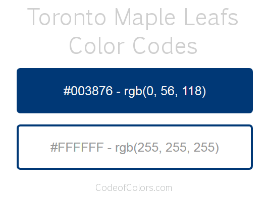 Toronto Maple Leafs Team Color Codes