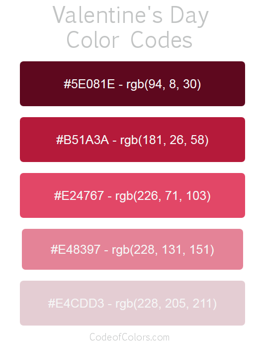Valentine\'s Day Color Palette - Hex and RGB Color Codes