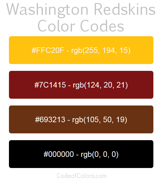 Washington Redskins Colors Hex And Rgb Color Codes
