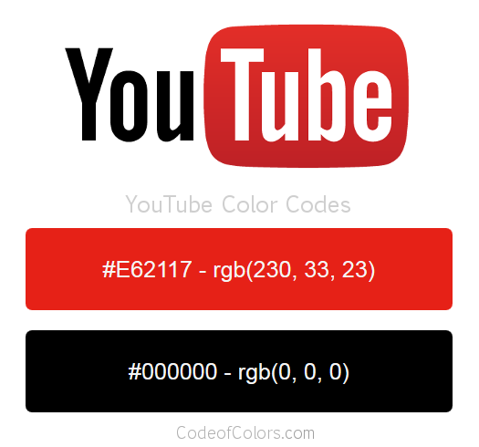 YouTube Logo and Website Color Codes